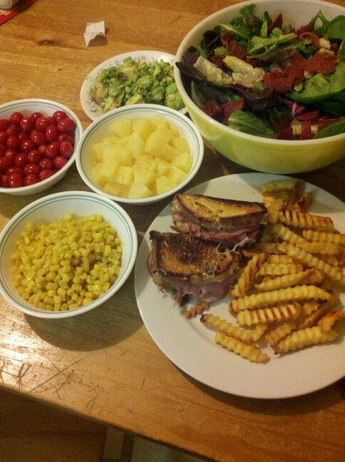 ... ham, pibeapple cheese sandwich, fries, avocado tomato corn bacon salad