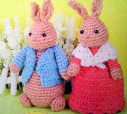 Crochet Doll amigurumi Pattern - Peter Rabbit Couple