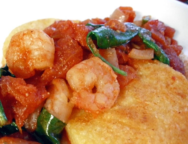 Polenta with Shrimp, Spinach, and Tomatoes - Poor Girl Eats Well ...