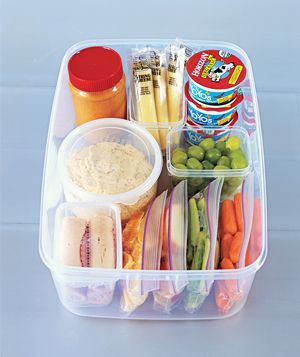 Give kids the freedom to snack when they want by pre-packaging what they can choose. Though, my kid would pick the hummus/peanut butter and try to eat it by itself.