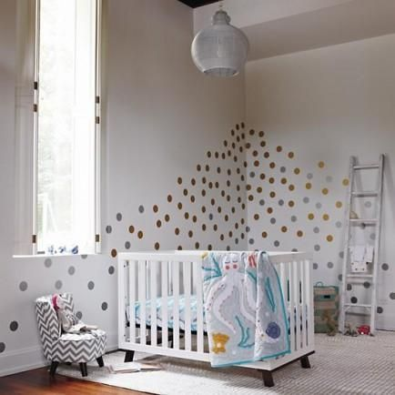 Create your own design with metallic polka dot wall decals. #nursery