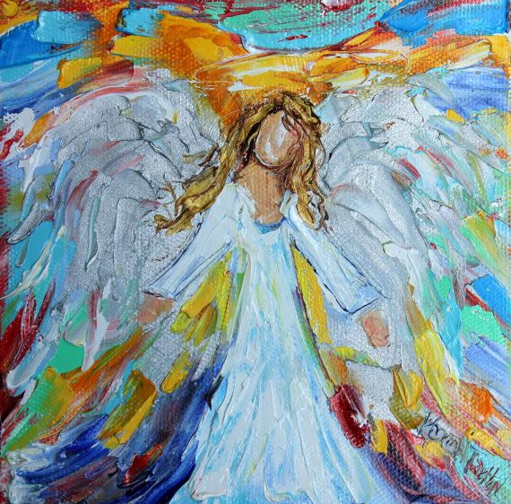 Original oil painting Little Angel palette knife impasto impressionis ... Oil Paintings Of Angels