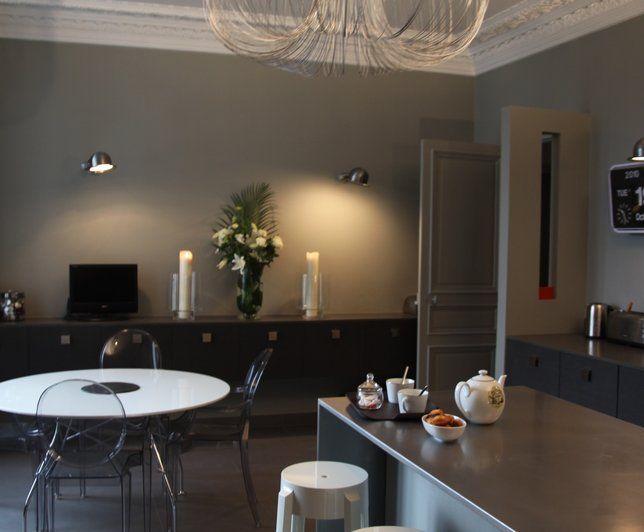 Tapis Chambre Pas Cher : Photo Deco  Salon Gris Moderne Appartement Haussmanien Epure