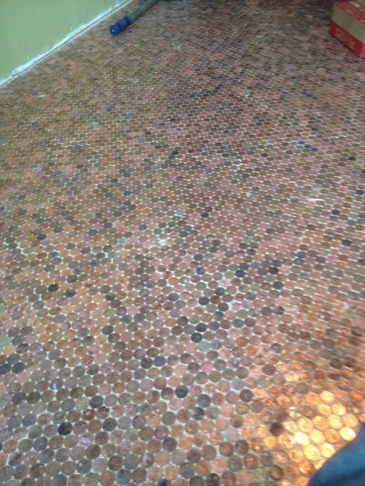 Floor of pennies crafty monster pinterest for Floor of pennies