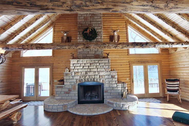 Fireplace In Log Home When I Build Someday Pinterest