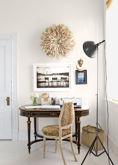 Gorgeous Natural Bamileke Feather Headdress (Juju hat) above a desk.