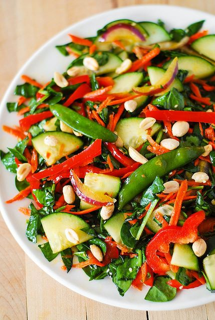 Crunchy Asian salad with peanut dressing by JuliasAlbum.com, via ...