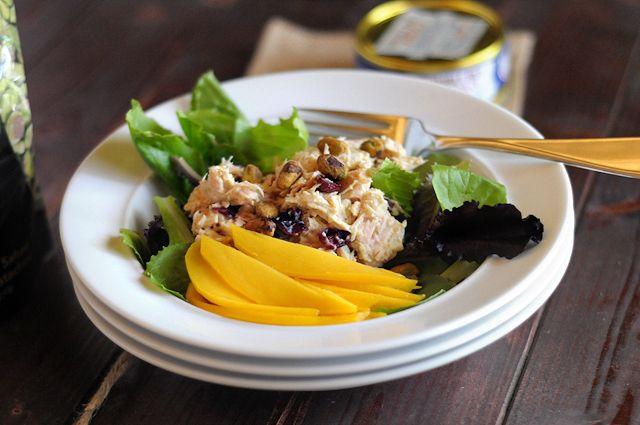 Quick Hummus, Mango and Pistachio Tuna Salad    HeathersDish.com