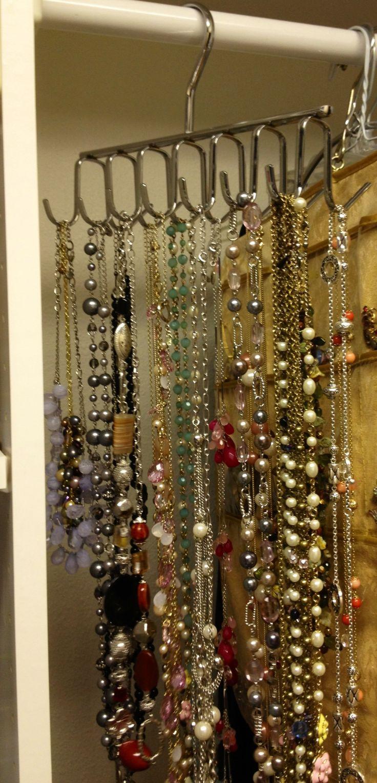 Jewelry Organizer By Using A Tie Rack Jewelry Ideas
