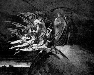 The demon torturers of the grafters confront Virgil and Dante.