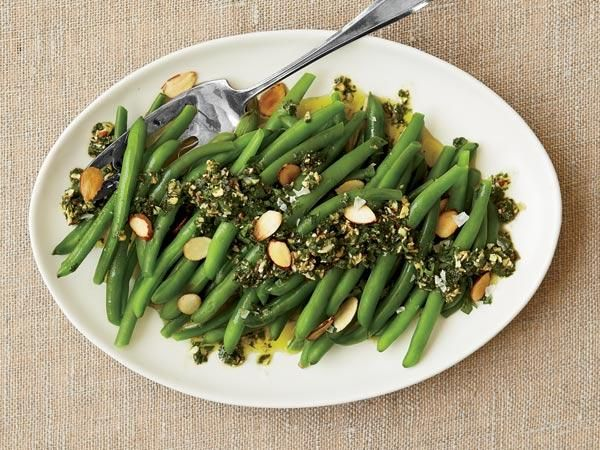Best Holiday Side Dishes: Green Beans with Almond Pesto http://www ...