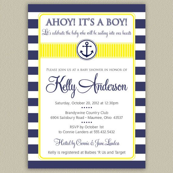 Ahoy Its a Boy Nautical Baby Shower Invitation by doubleudesign, $16