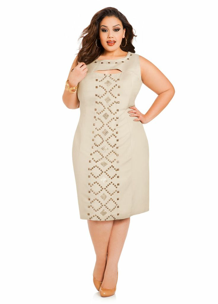Studded keyhole dress ashley stewart the curvy girl 39 s for Ashley stewart wedding dresses