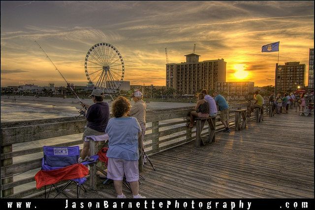 Fishing on Pier 14 at Sunset in Myrtle Beach,