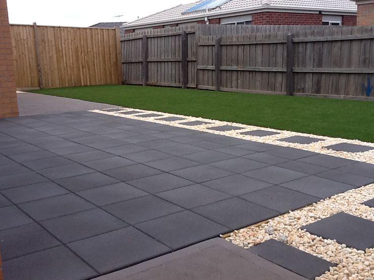 Charcoal pavers white pebble Backyard Inspiration