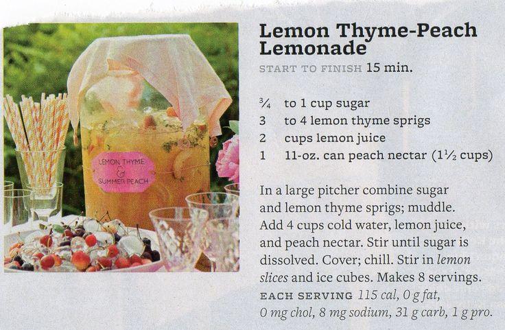 Thyme-Peach Lemonade | Beverages | Pinterest