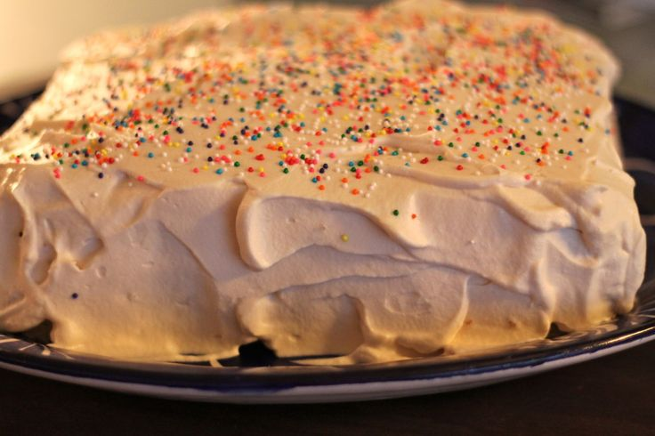 Vanilla Sponge Cake with Vanilla Whipped Cream Frosting
