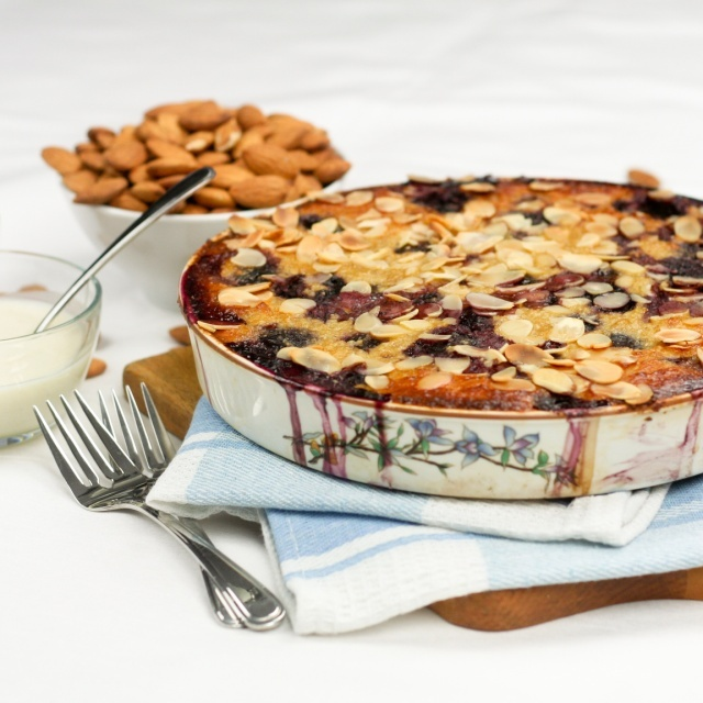 "Cherry Almond Clafoutis with faux ""Creme Anglaise"""