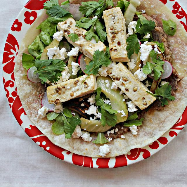 """Coriander Tofu Tostadas with Refried Beans and """"Grilled"""" Fennel"""