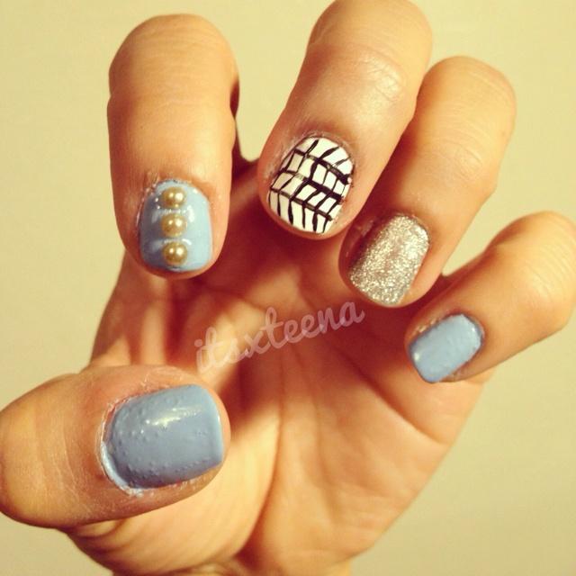 Blue nail art with some swag | Nail Art/Nail Swag | Pinterest