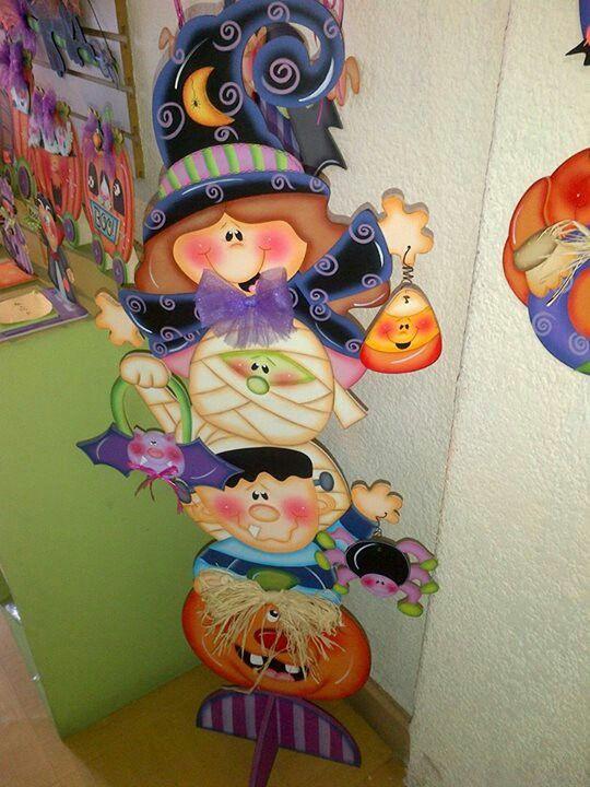 Decoracion Oficina Dia De Muertos ~ Totem halloween  Madera y Pintura Country  Pinterest