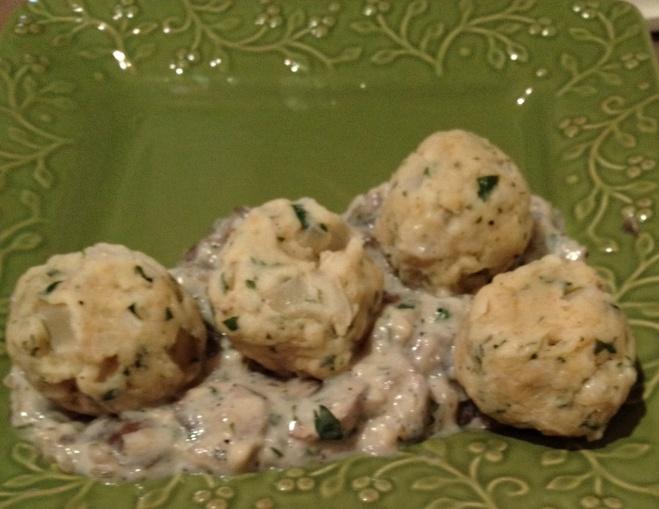 German bread dumplings with mushroom sauce