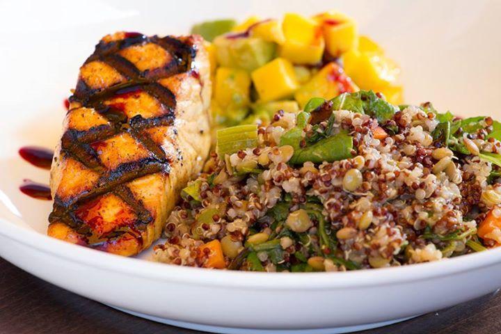 Enjoy our SALMON BOWL w/ Moroccan Spiced Salmon, Citrus Salsa, bowlful ...