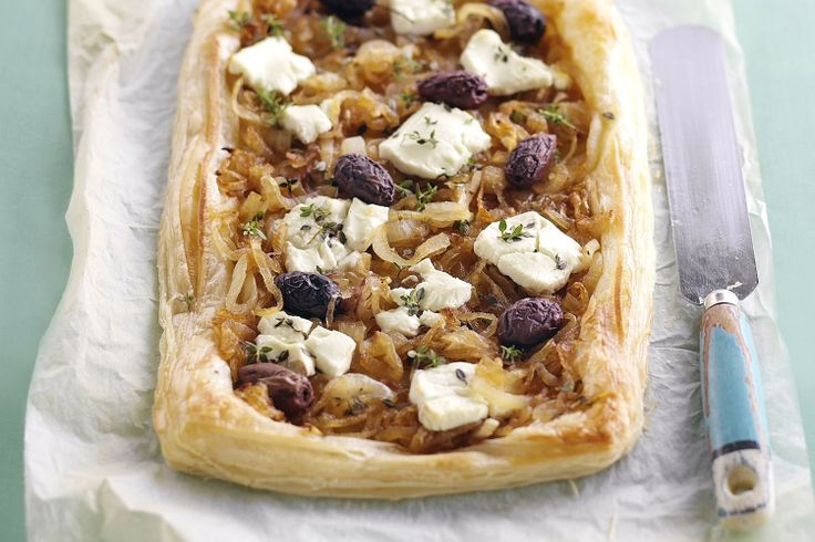 crunchy puff pastry base, this sweet onion, olive and goat's cheese ...