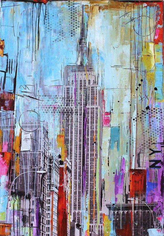 original pintura pop arte abstracto pintura nueva por jolinaanthony, $499.00