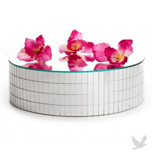 Round glass mirror centerpiece base
