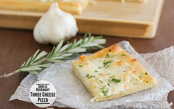 Garlic Rosemary Three Cheese Pizza | Recipe