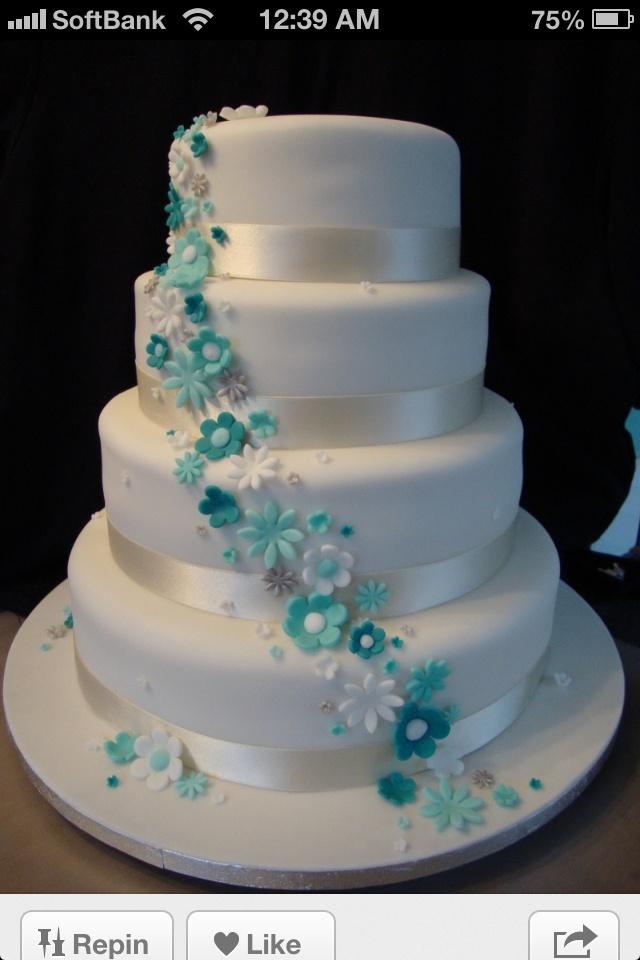 Tiffany blue cake Baby shower Pinterest