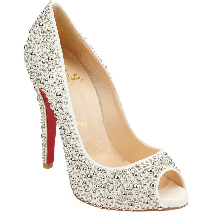 Gorgeous silver pearl covered Louboutin shoes