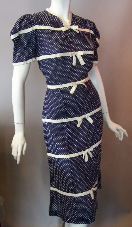 Blue polka dot dress with white bows, c. 1930s. DCV archives.