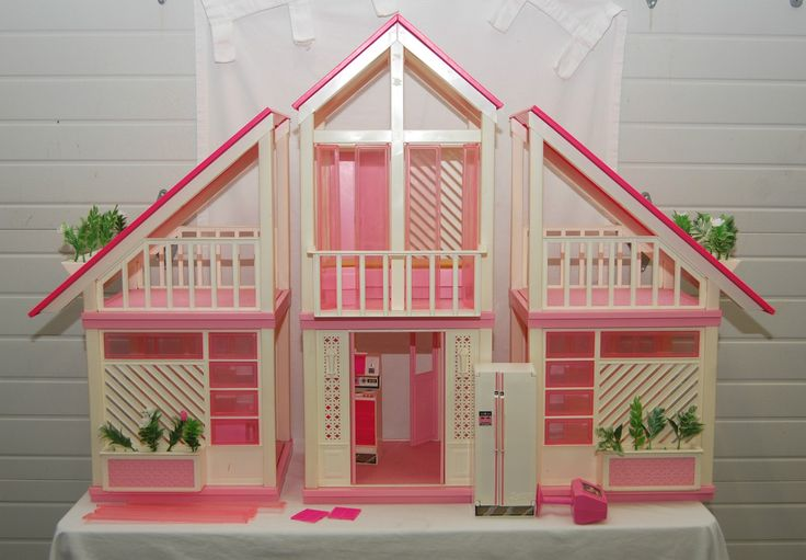 Vintage Barbie Dream House A Frame With Some Furniture