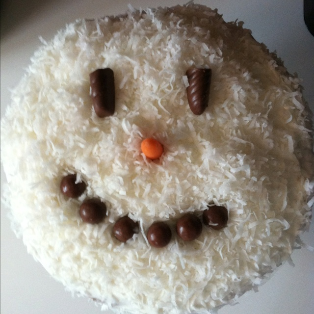 snowman coconut cake!!! You can make it up yourself!