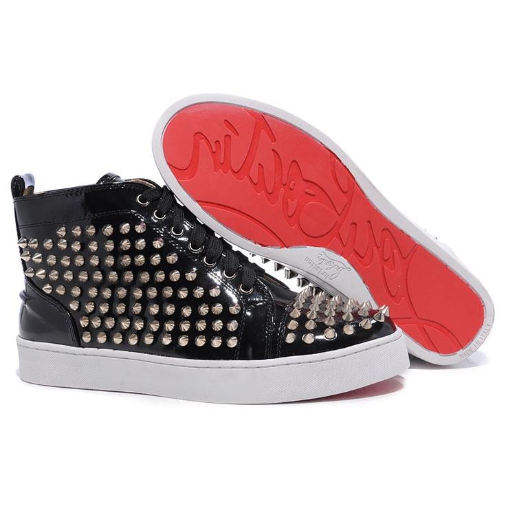 Christian Louboutin Sneakers Louis Silver Spikes Man Sneakers Black Pa