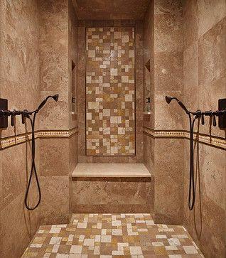 Large walk-in shower for two | Doorless Shower | Pinterest