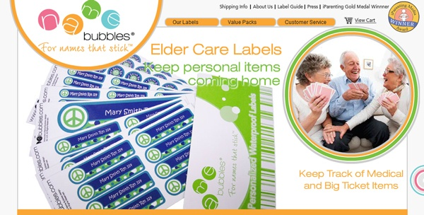 Name Bubbles Personalized Waterproof Labels for Nursing Homes, Assisted Living and Elder Care