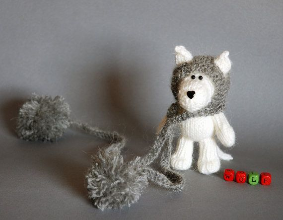 Wolf Knitting Pattern : White Wolf in the gray hat -knitting pattern (knitted round)