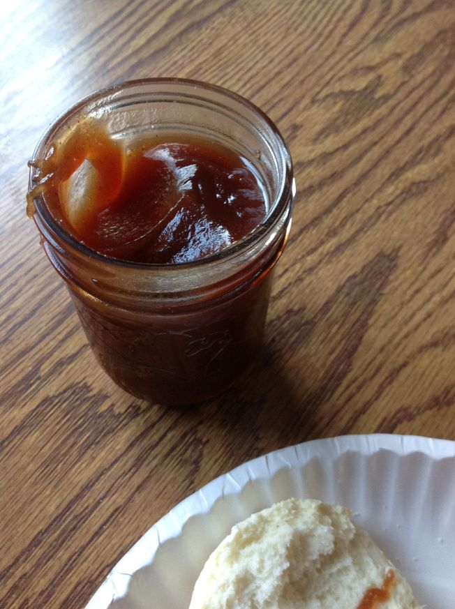 Crock pot apple butter - delish! Finished off on the stove to thicken.