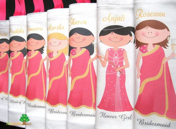 Personalised Indian Wedding Gift Bags : Personalized Indian brides and bridesmaids sari wedding gifts bags or ...