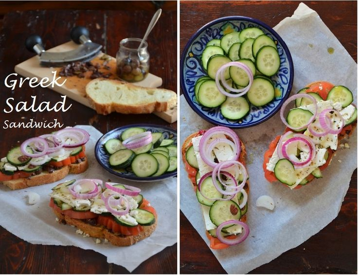 Greek salad sandwich | Vegetarian | Pinterest