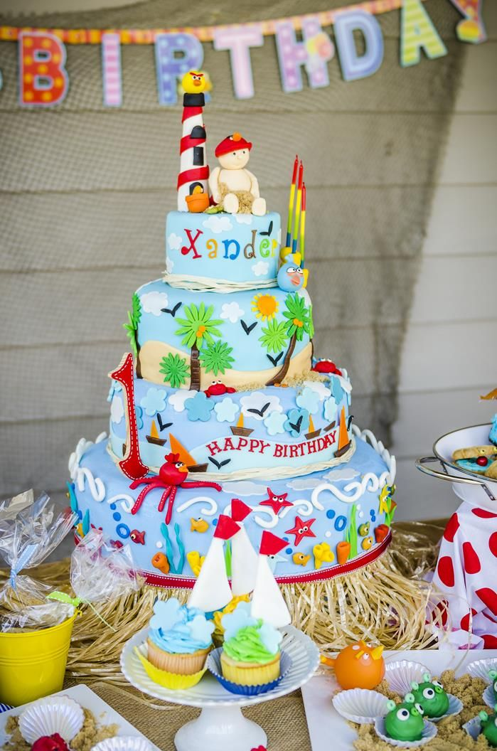 Beach party cake ideas 6975 angry birds beach party idea p for Angry birds cake decoration kit