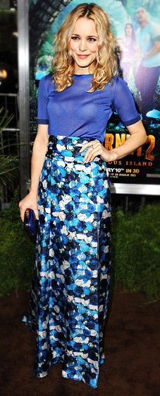 Rachel McAdams in a floral print look with a sexy thigh-high slit.