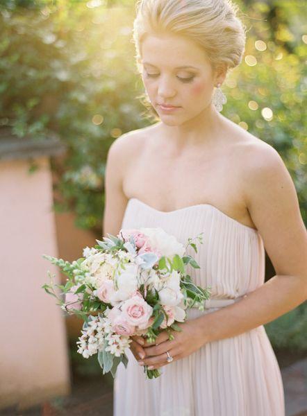 pretty + petite bouquet + blush gown Wedding Bells ...