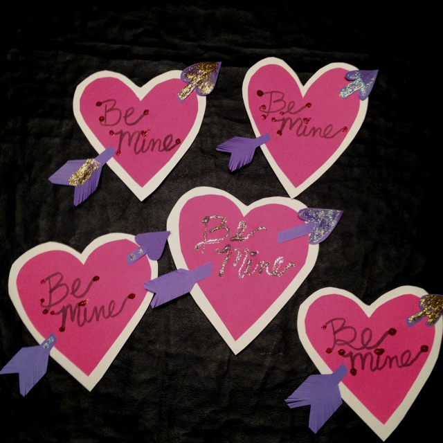 Homemade valentines. All you need is paper glitter glue glue and markers