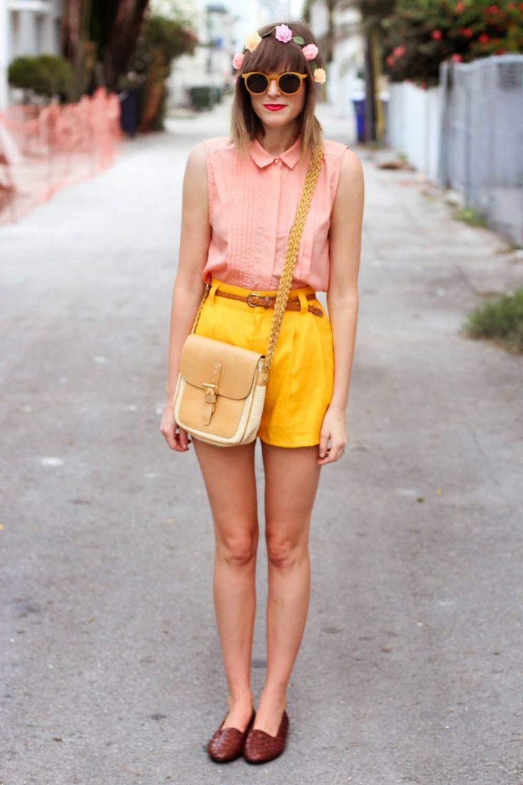 Light Coral Pink Top with Bright Yellow Shorts