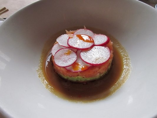 Salmon tartare in soy ginger dressing with radishes..@ spice market.