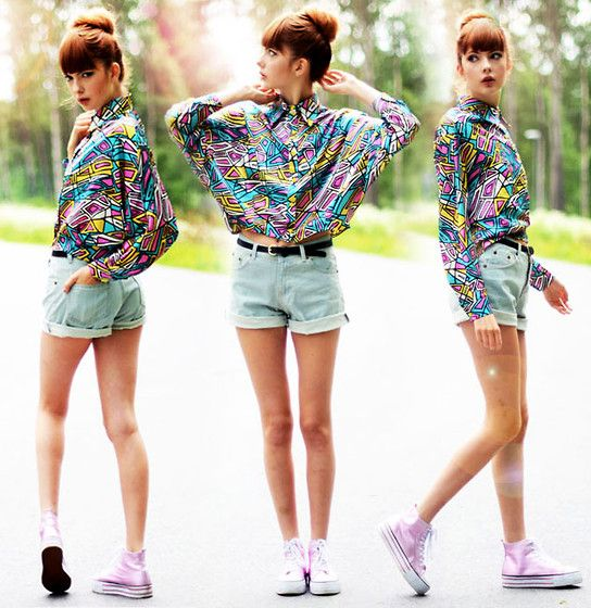 Choies Geometric Patterned Silk Blouse, Sheinside Denim Shorts, Rapunzel Of Sweden Fake Bangs, Even Sneakers